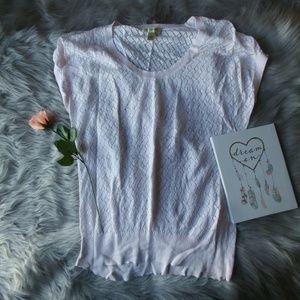 Banana Republic Pink Knit Linen Short Sleeve L Top